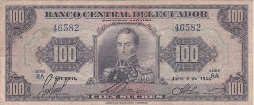 banco central! 100 sucres 6 junio 1958 serie ra