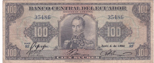 banco central! 100 sucres 6 junio 1958 serie rf