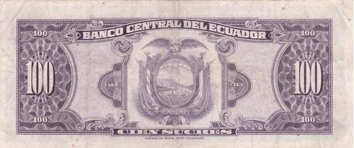 banco central! 100 sucres 7 julio 1.970 serie ub - vocal 2