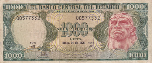 banco central! 1000 sucres 24 mayo 1976 serie ag