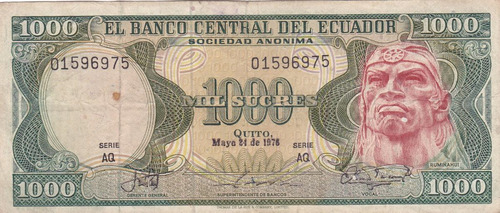 banco central! 1000 sucres 24 mayo 1976 serie aq