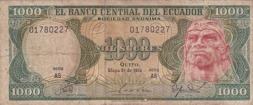banco central! 1000 sucres 24 mayo 1976 serie as