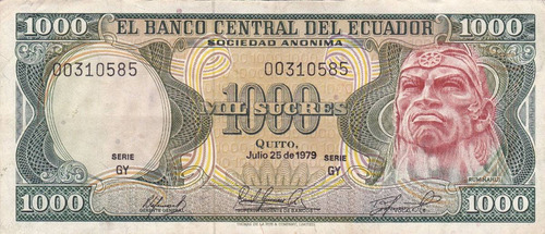 banco central! 1000 sucres 25 julio 1979 serie gy