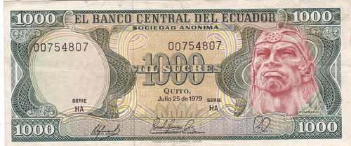 banco central! 1000 sucres 25 julio 1979 serie ha