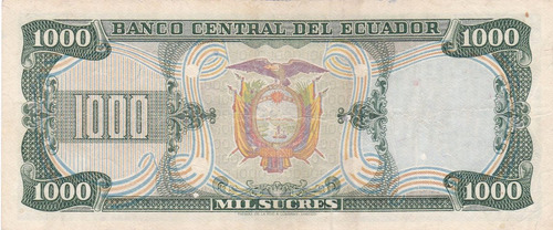 banco central! 1000 sucres 25 julio 1979 serie hm