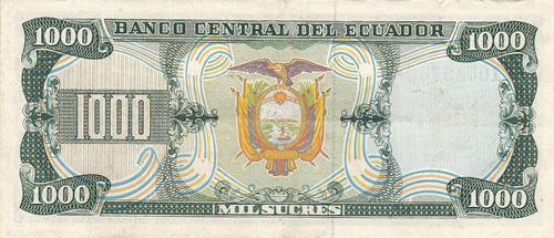 banco central! 1000 sucres 29 septiembre 1986 serie iq