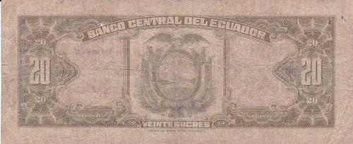 banco central! 20 sucres 19 junio 1956 serie ir
