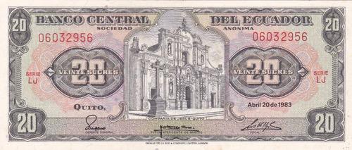 banco central! 20 sucres 20 abril 1983 serie lj
