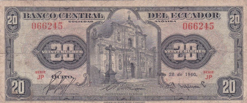 banco central! 20 sucres 28 julio 1960 serie jp - punto