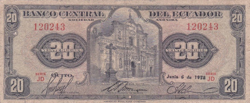 banco central! 20 sucres 6 junio 1958 serie jd