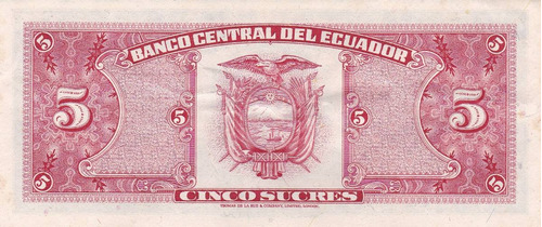 banco central! 5 sucres 24 mayo 1980 serie hu