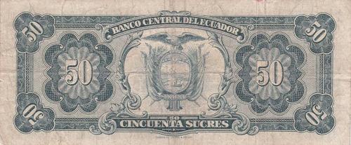 banco central! 50 sucres 17 noviembre 1966 serie tl - coma