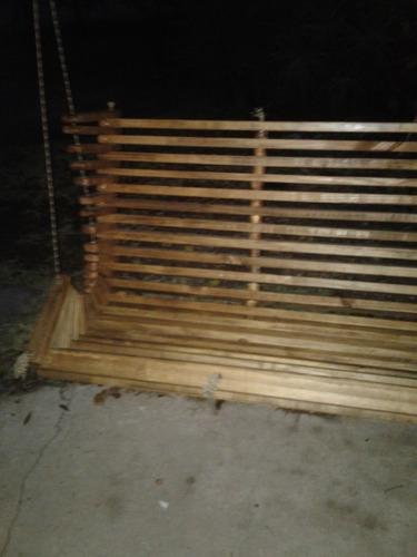 banco colgante de madera, hamaca para jardin