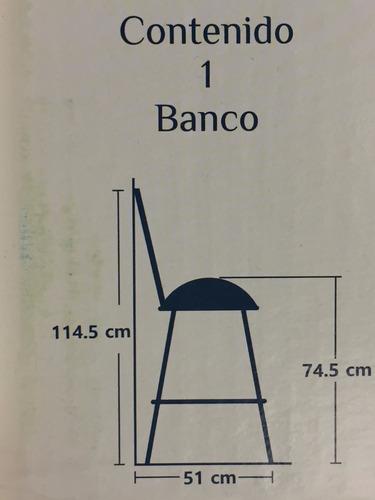 banco con respaldo hierro asiento alta densidad gira 360°