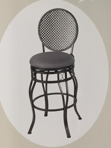 banco con respaldo hierro gris asiento gira 360°
