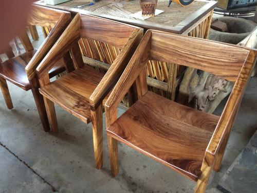 banco de bar de madera de parota tzalam