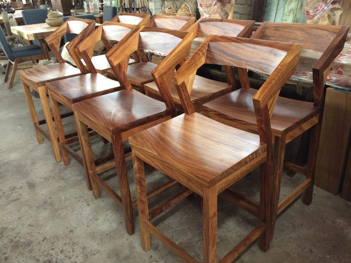 Banco de bar de madera de parota tzalam 2 en for Bancos de bar de madera