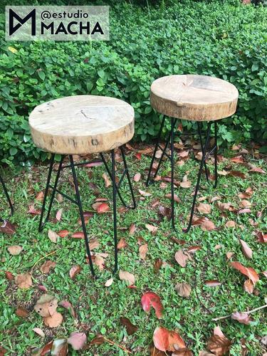 banco de diseño: tronco madera hierro hairpin. int/ext