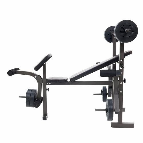 banco de ejercicio con discos de peso y barra recta bodyfit