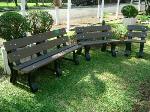 banco de jardim 03 lugares em madeira plastica reciclada
