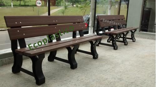banco de jardim ecologico em madeira plástica 03 lugares