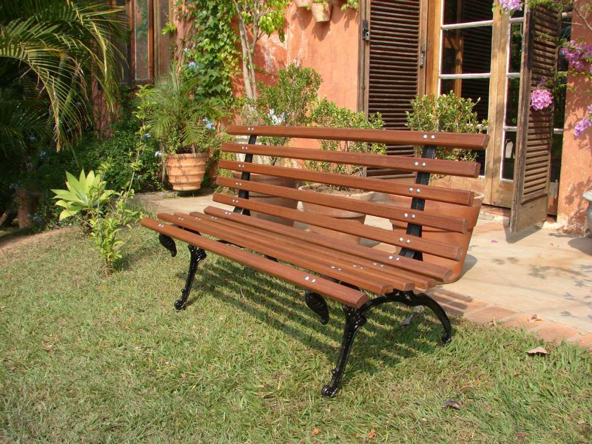 Banco de jardim em madeira e p de ferro tamandua r for Inmobiliarias de bancos