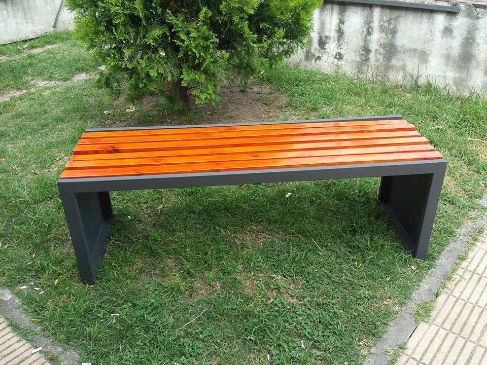 banco de jardin hierro y madera exelente en