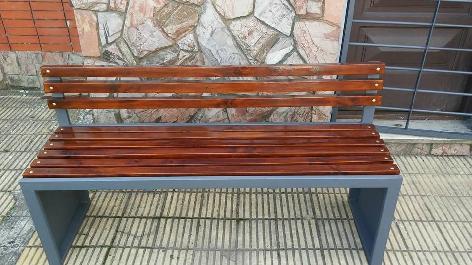 Banco de jardin hierro y madera exelente en for Banco madera jardin