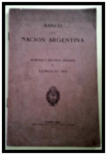 banco de la nación argentina  memoria y balance 1912