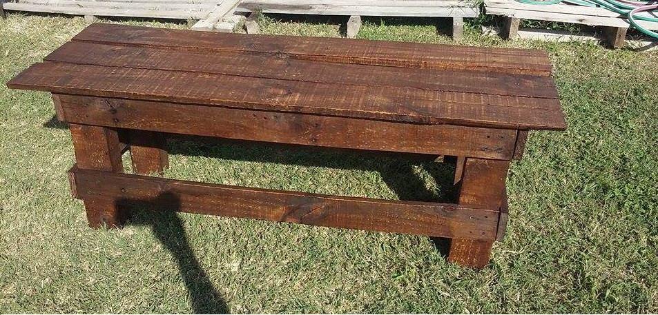 banco de madera de palets metro rustico tinte algarrobo