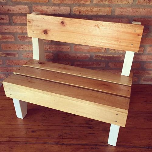 banco de madera niños, banco doble de madera niños