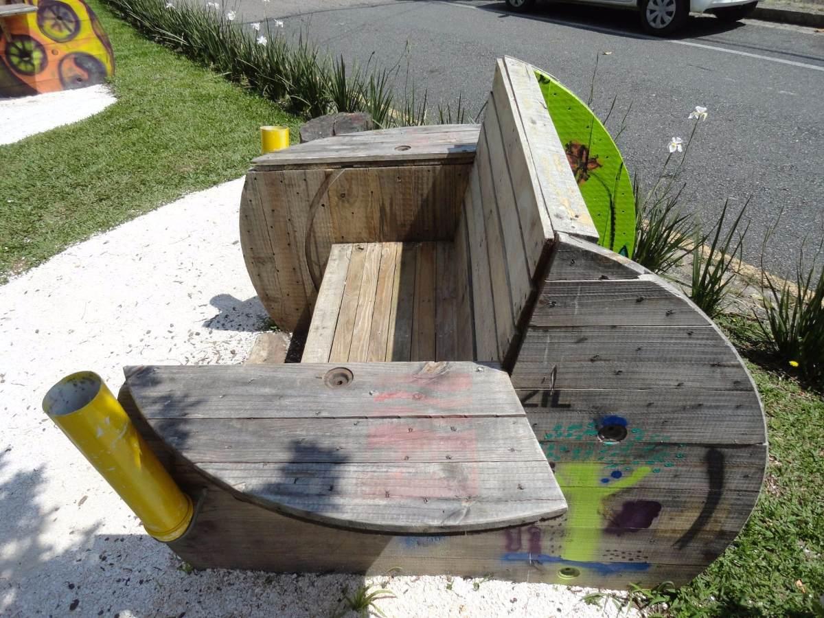 Artesanal Jardim Goias ~ Banco De Pallet E Carretel De Madeira Artesanal Estúdio Ecoa R$ 750,00 em Mercado Livre