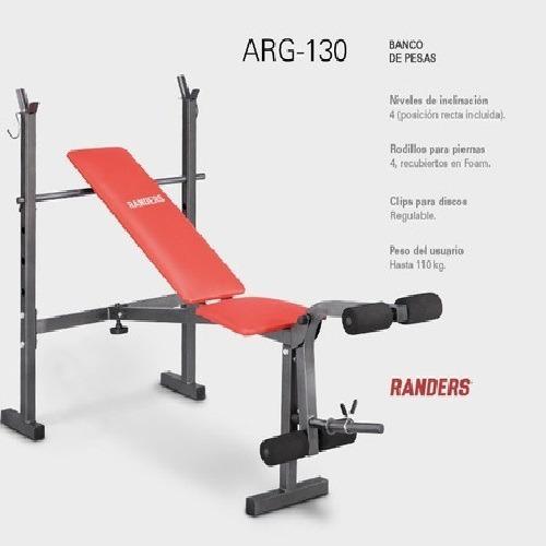 banco de pesas de pecho y piernas arg 130 con 4 rodillos