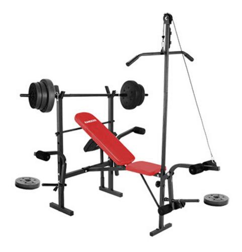banco de pesas + dorsalera + 30 kg pesa + barra+2 mancuernas