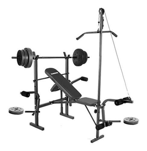 banco de pesas randers arg-150 incluye 30kg pesas y barras