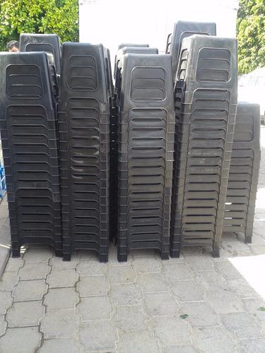 banco de plastico apilable reforzado negro jardin oferta