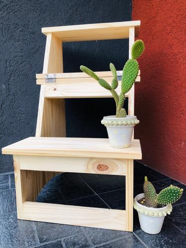 banco escalera de madera pino natural cepillada plegable
