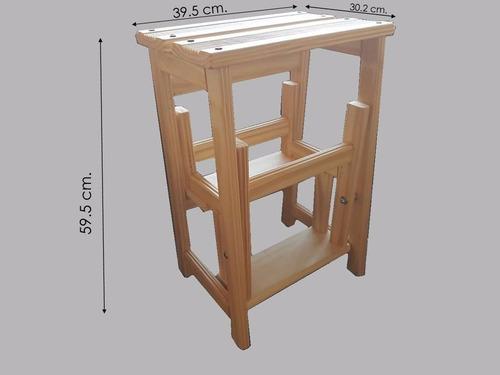 banco escalera plegable con patas rebatibles de madera