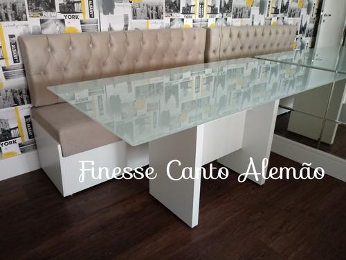 banco estilo canto alemão e mesa tampo de vidro serigrafado
