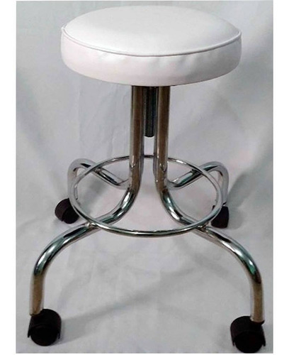 banco giratorio altura variable asiento con tapiz blanco.