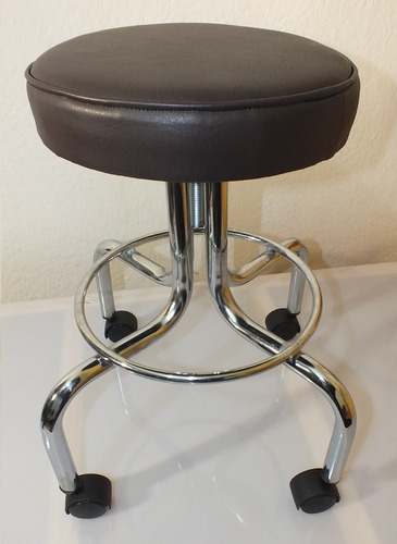 banco giratorio con asiento tapizado en vinipiel chocolate