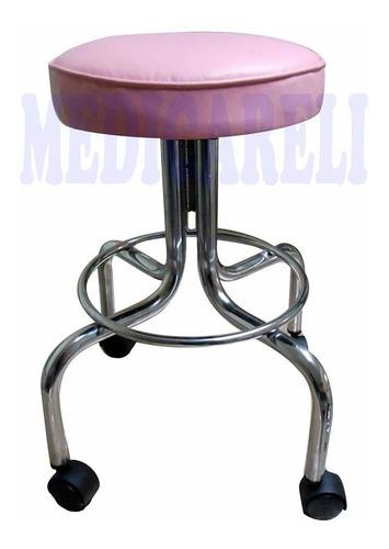 banco giratorio con asiento tapizado vinipiel rosa claro