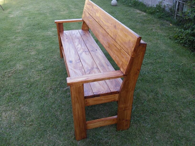 Banco madera maciza con respaldo exterior interior - Bancos de madera para interior ...