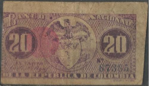 banco nacional 20 centavos 30 sep 1900 p265 serie g