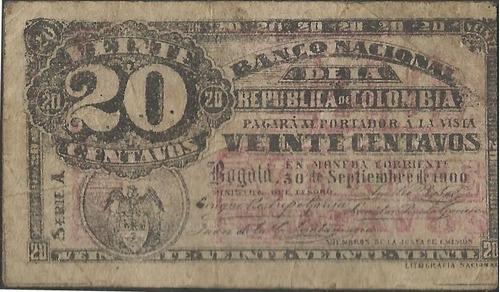 banco nacional 20 centavos 30 sep1900 serie a p265