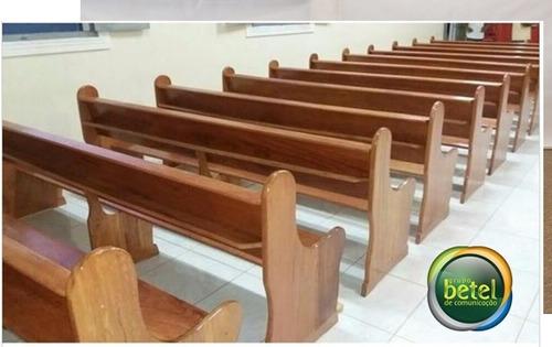 banco para igreja capela madeira nobre angelim pedra 1 metro