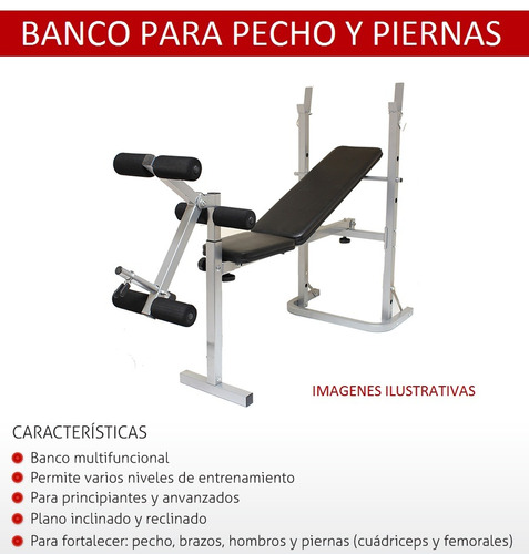 banco pecho + 2 mancuernas + barra recta + 60kg metinca