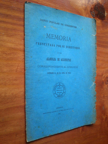 banco popular corrientes memoria accionistas directorio 1904