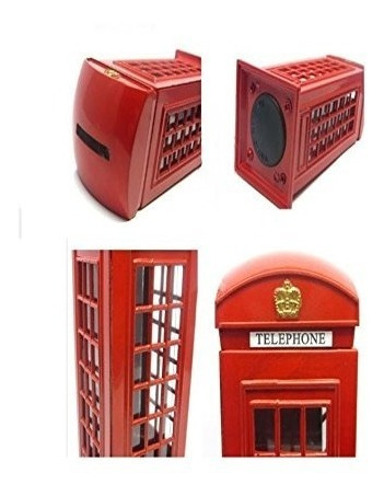banco rojo cabina telefónica alcancía, hucha londres, pot
