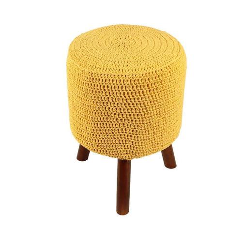 banco round crochê pé madeira amarelo mel
